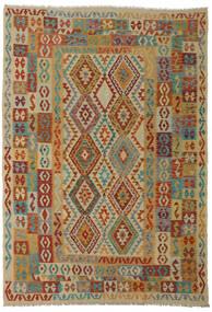 Kilim Afegão Old Style Tapete 206X295 Oriental Tecidos À Mão Vermelho Escuro/Castanho Claro (Lã, Afeganistão)
