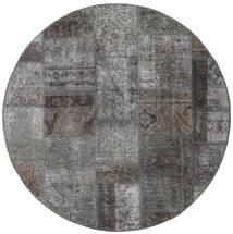 Patchwork - Persien/Iran Tapete Ø 150 Moderno Feito A Mão Redondo Cinza Escuro/Cinzento Claro (Lã, Pérsia/Irão)