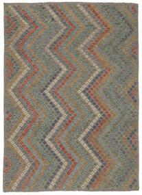 Kilim Afegão Old Style Tapete 213X285 Oriental Tecidos À Mão Preto/Castanho Escuro (Lã, Afeganistão)
