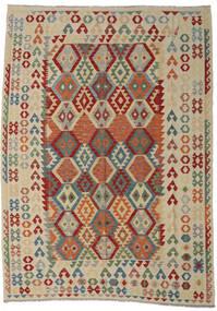 Kilim Afegão Old Style Tapete 250X349 Oriental Tecidos À Mão Cinzento Claro/Vermelho Escuro Grande (Lã, Afeganistão)