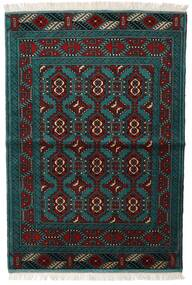 Turcomano Tapete 105X150 Oriental Feito A Mão Preto/Turquesa Escuro (Lã, Pérsia/Irão)