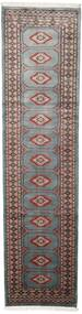 Paquistão Bucara 2Ply Tapete 75X295 Oriental Feito A Mão Tapete Passadeira Cinza Escuro/Preto (Lã, Paquistão)