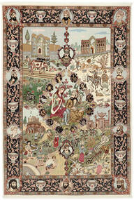 Tabriz 50 Raj Tapete 150X219 Oriental Feito A Mão Castanho/Castanho Claro (Lã/Seda, Pérsia/Irão)