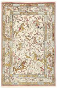 Ghom Seda Tapete 132X203 Oriental Feito A Mão Bege/Bege Escuro (Seda, Pérsia/Irão)