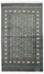 Paquistão Bucara 3Ply Tapete 92X151 Oriental Feito A Mão Cinza Escuro/Verde Escuro (Lã, Paquistão)