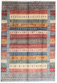 Shabargan Tapete 207X305 Moderno Feito A Mão Castanho Escuro/Cinzento Claro (Lã, Afeganistão)