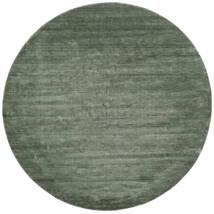 Handloom - Verde Floresta Tapete Ø 250 Moderno Redondo Verde Escuro/Verde Claro Grande (Lã, Índia)