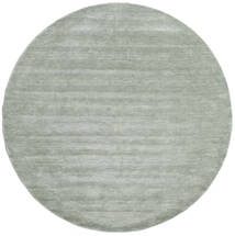 Handloom - Soft Teal Tapete Ø 250 Moderno Redondo Verde Claro/Azul Turquesa Grande (Lã, Índia)