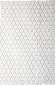 Bambu Seda Kilim Tapete 200X300 Moderno Tecidos À Mão Cinzento Claro/Branco/Creme (Lã/Bamboo Seda, Índia)
