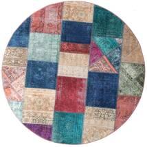Patchwork - Persien/Iran Tapete Ø 200 Moderno Feito A Mão Redondo Azul Escuro/Roxo (Lã, Pérsia/Irão)