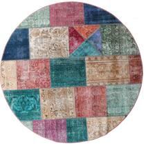 Patchwork - Persien/Iran Tapete Ø 200 Moderno Feito A Mão Redondo Castanho/Cinzento Claro (Lã, Pérsia/Irão)