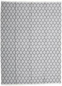 Bambu Seda Kilim Tapete 300X400 Moderno Tecidos À Mão Cinzento Claro/Branco/Creme Grande (Lã/Bamboo Seda, Índia)