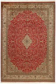 Kashmir Pura Seda Tapete 214X305 Oriental Feito A Mão Vermelho Escuro/Castanho (Seda, Índia)