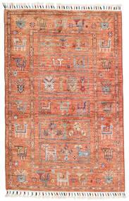 Shabargan Tapete 83X128 Moderno Feito A Mão Luz Rosa/Vermelho Escuro (Lã, Afeganistão)