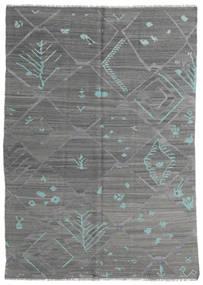 Kilim Moderno Tapete 168X239 Moderno Tecidos À Mão Cinza Escuro/Verde Escuro (Lã, Afeganistão)