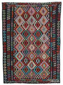 Kilim Afegão Old Style Tapete 179X244 Oriental Tecidos À Mão Preto/Cinzento Claro (Lã, Afeganistão)