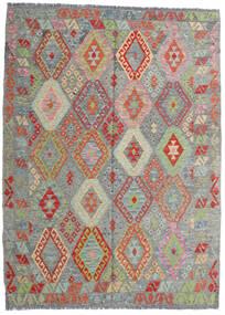 Kilim Afegão Old Style Tapete 171X233 Oriental Tecidos À Mão Cinza Escuro/Cinzento Claro (Lã, Afeganistão)