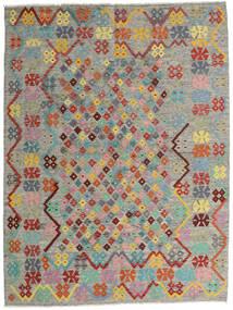 Kilim Afegão Old Style Tapete 185X245 Oriental Tecidos À Mão Cinzento Claro/Cinza Escuro (Lã, Afeganistão)