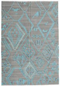 Kilim Moderno Tapete 203X292 Moderno Tecidos À Mão Cinza Escuro/Cinzento Claro/Azul Turquesa (Lã, Afeganistão)