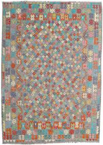 Kilim Afegão Old Style Tapete 213X300 Oriental Tecidos À Mão Cinza Escuro/Cinzento Claro (Lã, Afeganistão)