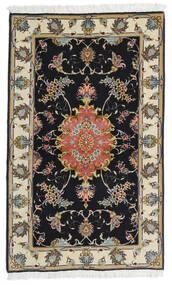 Tabriz 60 Raj Fio De Seda Tapete 73X120 Oriental Feito A Mão Preto/Bege Escuro (Lã/Seda, Pérsia/Irão)