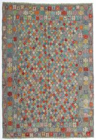 Kilim Afegão Old Style Tapete 208X298 Oriental Tecidos À Mão Cinza Escuro/Cinzento Claro (Lã, Afeganistão)