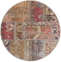 Patchwork - Persien/Iran Tapete Ø 100 Moderno Feito A Mão Redondo Cinzento Claro/Castanho/Vermelho Escuro (Lã, Pérsia/Irão)