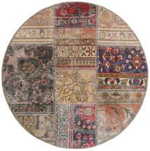 Patchwork - Persien/Iran Tapete Ø 100 Moderno Feito A Mão Redondo Cinzento Claro/Castanho Claro (Lã, Pérsia/Irão)