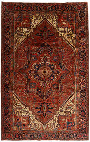 Heriz Tapete 258X397 Oriental Feito A Mão Castanho Escuro/Vermelho Escuro Grande (Lã, Pérsia/Irão)