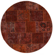 Patchwork - Persien/Iran Tapete Ø 200 Moderno Feito A Mão Redondo Castanho Escuro/Vermelho Escuro (Lã, Pérsia/Irão)