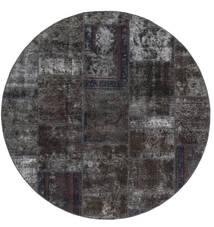 Patchwork - Persien/Iran Tapete Ø 200 Moderno Feito A Mão Redondo Preto/Castanho (Lã, Pérsia/Irão)