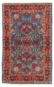 Kerman Tapete 92X149 Oriental Feito A Mão Vermelho Escuro/Azul (Lã, Pérsia/Irão)