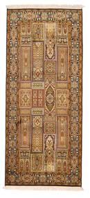 Kashmir Pura Seda Tapete 78X179 Oriental Feito A Mão Tapete Passadeira Castanho/Castanho Claro (Seda, Índia)
