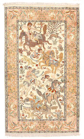 Kashmir Pura Seda Tapete 92X154 Oriental Feito A Mão Bege/Bege Escuro (Seda, Índia)
