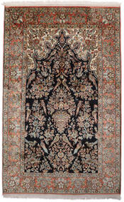 Kashmir Pura Seda Tapete 96X152 Oriental Feito A Mão Preto/Castanho Escuro (Seda, Índia)