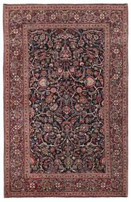 Kashan Tapete 136X210 Oriental Feito A Mão Vermelho Escuro/Cinza Escuro (Lã/Seda, Pérsia/Irão)