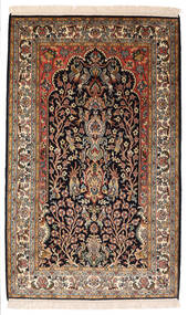 Kashmir Pura Seda Tapete 82X132 Oriental Feito A Mão Preto/Castanho Escuro (Seda, Índia)