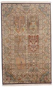 Kashmir Pura Seda Tapete 96X154 Oriental Feito A Mão Castanho/Castanho Claro (Seda, Índia)