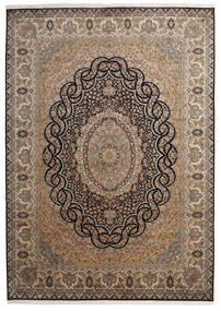Kashmir Pura Seda Tapete 218X307 Oriental Feito A Mão Castanho/Cinza Escuro (Seda, Índia)