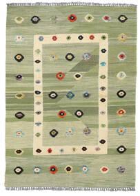 Kilim Moderno Tapete 107X151 Moderno Tecidos À Mão Verde Claro/Branco/Creme (Lã, Afeganistão)