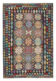 Kilim Afegão Old Style Tapete 202X301 Oriental Tecidos À Mão Preto/Cinzento Claro (Lã, Afeganistão)
