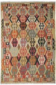 Kilim Afegão Old Style Tapete 205X311 Oriental Tecidos À Mão Vermelho Escuro/Bege Escuro (Lã, Afeganistão)