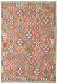 Kilim Afegão Old Style Tapete 206X300 Oriental Tecidos À Mão Vermelho Escuro/Cinzento Claro (Lã, Afeganistão)