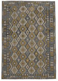 Kilim Afegão Old Style Tapete 209X303 Oriental Tecidos À Mão Preto (Lã, Afeganistão)