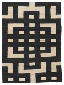 Kilim Moderno Tapete 132X177 Moderno Tecidos À Mão Preto/Castanho Claro (Lã, Afeganistão)