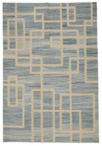 Kilim Moderno Tapete 202X298 Moderno Tecidos À Mão Cinza Escuro/Castanho Claro (Lã, Afeganistão)