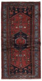 Hamadã Tapete 97X187 Oriental Feito A Mão Preto/Castanho Escuro (Lã, Pérsia/Irão)