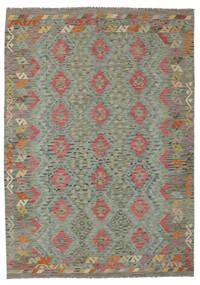 Kilim Afegão Old Style Tapete 177X248 Oriental Tecidos À Mão Verde Escuro (Lã, Afeganistão)