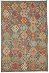 Kilim Afegão Old Style Tapete 198X298 Oriental Tecidos À Mão Castanho Escuro/Verde Escuro (Lã, Afeganistão)