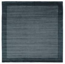 Handloom Frame - Petrol Azul Tapete 300X300 Moderno Quadrado Preto/Azul Escuro Grande (Lã, Índia)